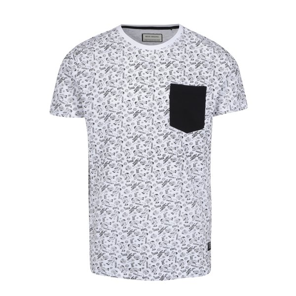 Tricou alb cu negru cu print de Craciun si buzunar Shine Original