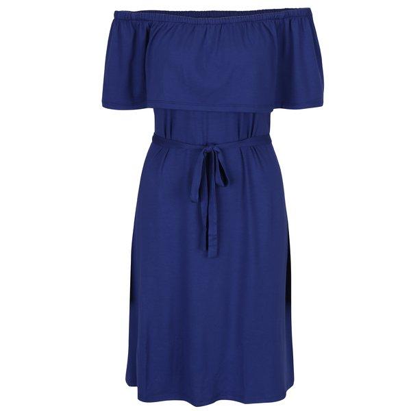Rochie albastra cu volan si elastic in talie Dorothy Perkins