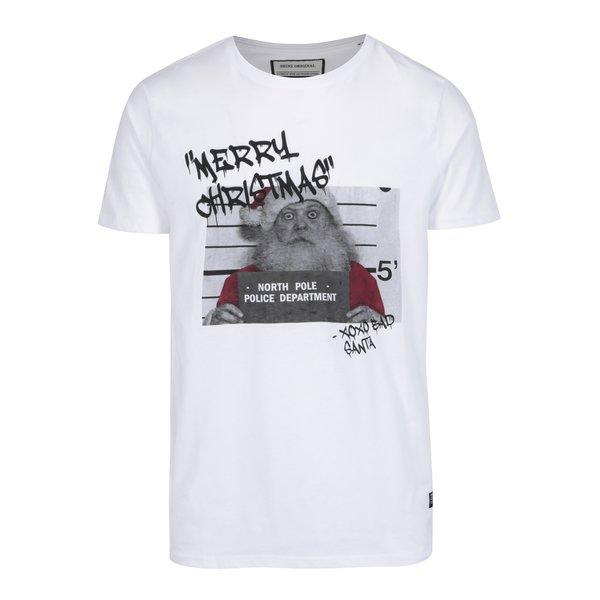 Tricou alb cu print funny de Craciun Shine Original