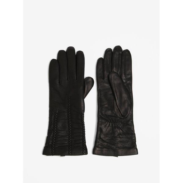Manusi negre din piele cu interior din lana si detalii decorative exterioare - KARA