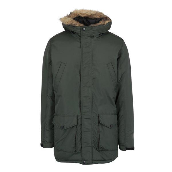 Geaca kaki inchis cu blana artificiala de iarna pentru barbati - Shine Original