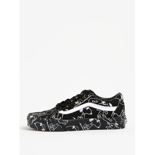 Pantofi sport negru&alb cu print Snoopy pentru femei Vans Peanuts