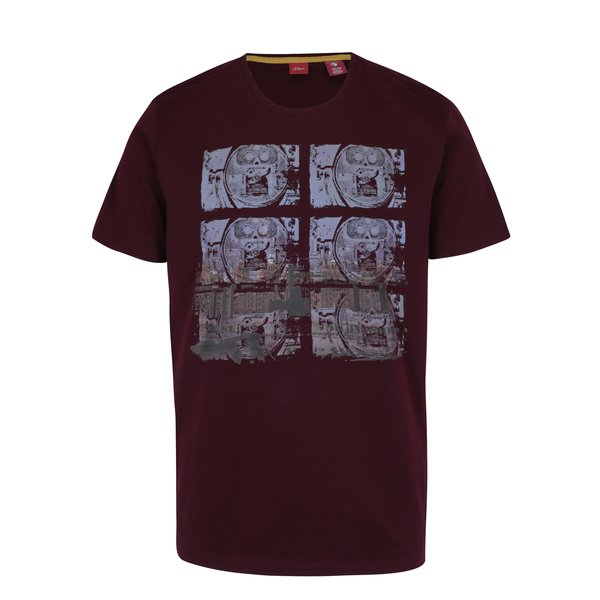Tricou regular fit bordo cu print abstract s.Oliver