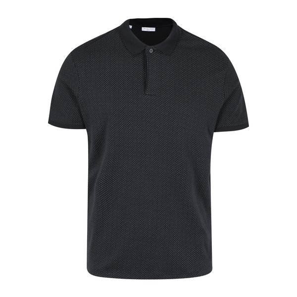 Tricou negru alb cu print - Selected Homme Delan