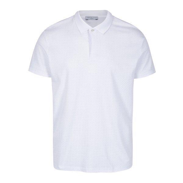 Tricou polo alb cu print - Selected Homme Delan