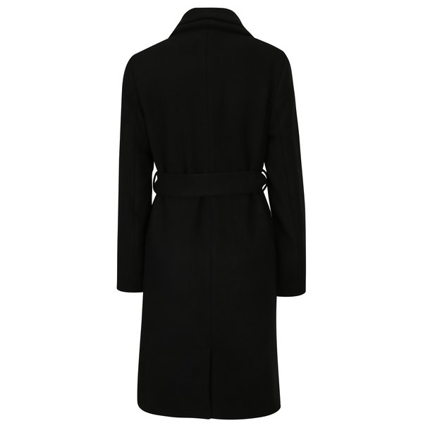 Palton negru din amestec de lana cu revere duble si cordon in talie - VERO MODA Pisa