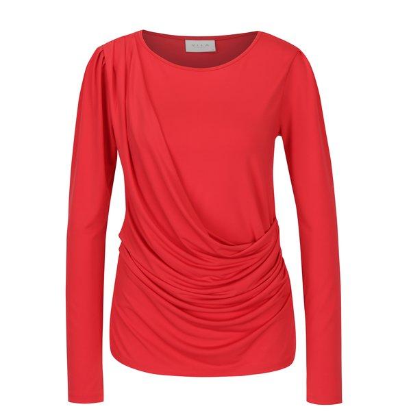 Bluza rosie cu falduri asimetrice - VILA Eltina