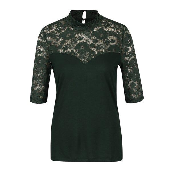 Bluza verde inchis cu dantela VERO MODA Sara