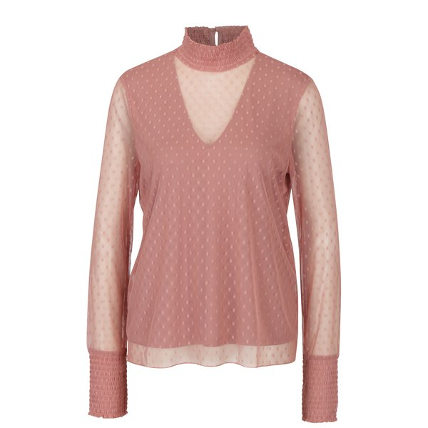 Bluza roz prafuit din plasa cu buline VERO MODA Almond