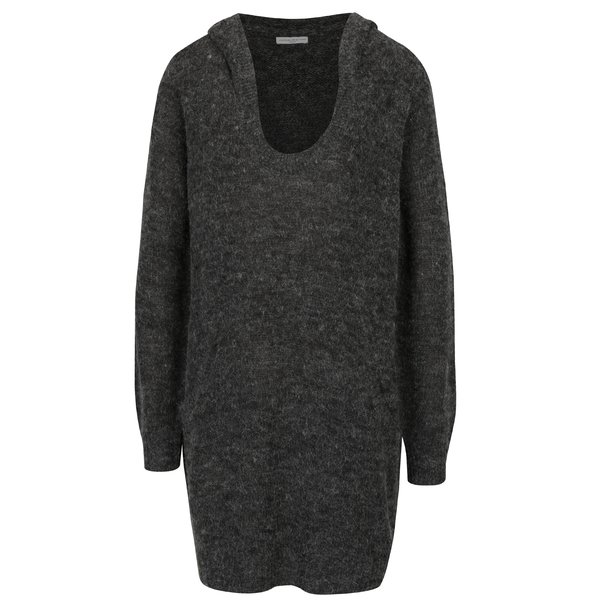 Rochie pulover gri inchis melanj cu gluga si buzunare Jacqueline de Yong Aika