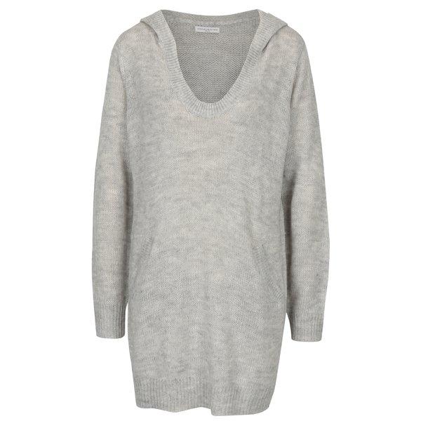 Rochie pulover gri deschis melanj cu gluga si buzunare Jacqueline de Yong Aika