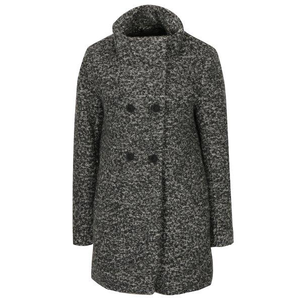 Palton gri inchis melanj cu guler inalt din amestec de lana ONLY New Sophia