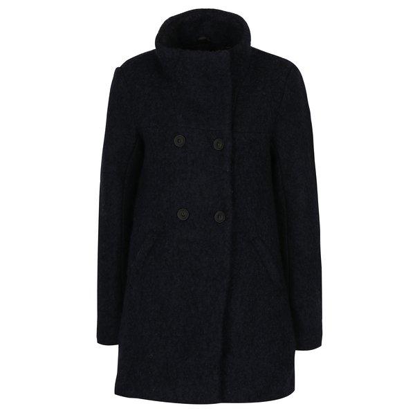 Palton bleumarin cu guler inalt din amestec de lana ONLY New Sophia