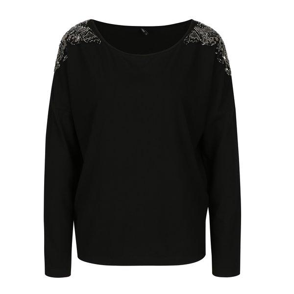 Bluza neagra cu aplicatie din margele pe umeri ONLY Mirabella