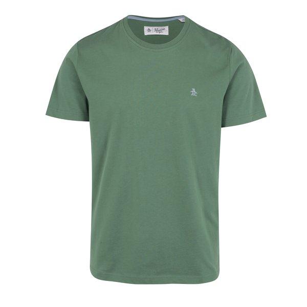 Tricou basic verde din bumbac cu logo brodat discret - Original Penguin Pin Point Embroidery