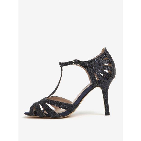 Sandale bleumarin cu irizatii argintii cu toc Dorothy Perkins