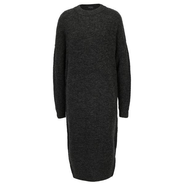 Rochie pulover gri inchis melanj din amestec de lana – Broadway Namara