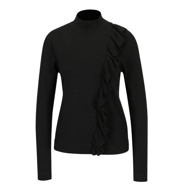 Bluza neagra asimetrica cu volane - Broadway Olevia