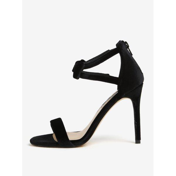 Sandale negre cu aspect catifelat si funda decorativa Dorothy Perkins
