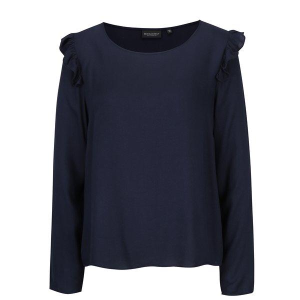 Bluza bleumarin cu volane pe umeri pentru femei – Broadway Orla