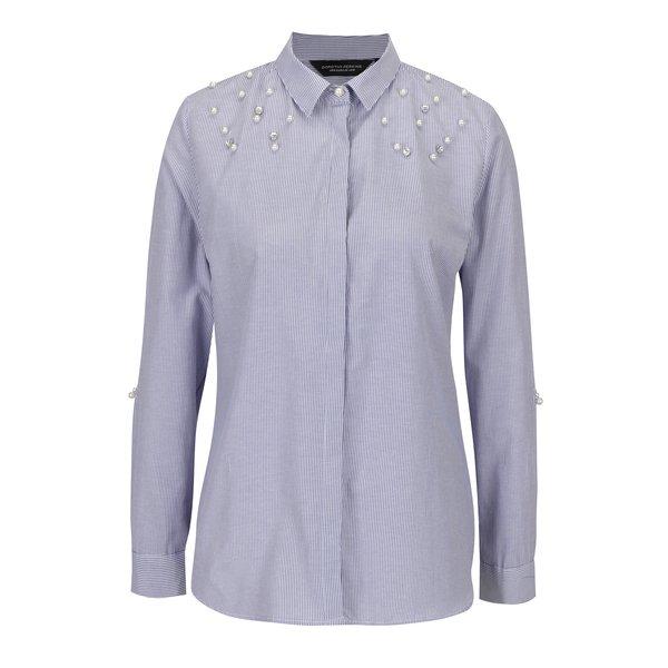 Camasa cu dungi alb & albastru si perle decorative aplicate- Dorothy Perkins