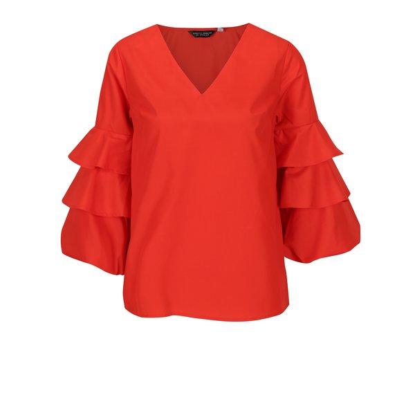 Bluza rosie cu decolteu in V si maneci clopot 3/4 - Dorothy Perkins
