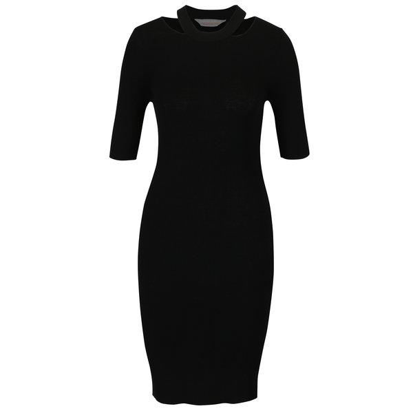 Rochie – pulover neagra pe corp cu decupaje in zona decolteului – Dorothy Perkins Petite