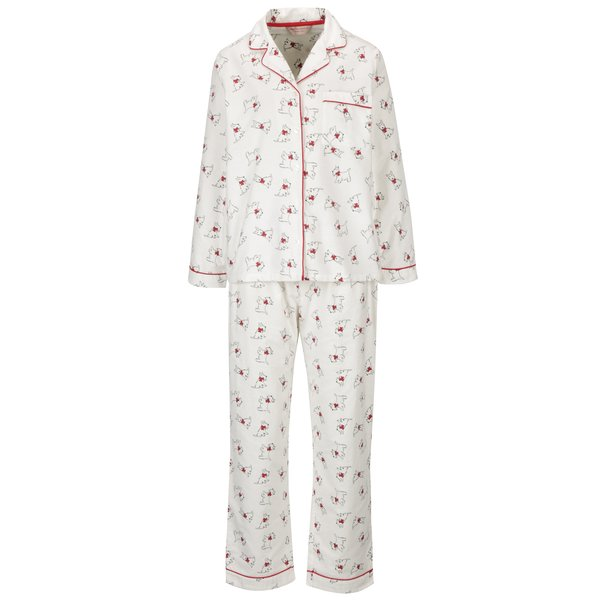 Pijama alba cu maneci lungi si print catelusi- Dorothy Perkins