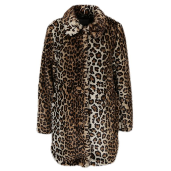 Haina din blana artificiala maro cu print leopard - Dorothy Perkins Petite