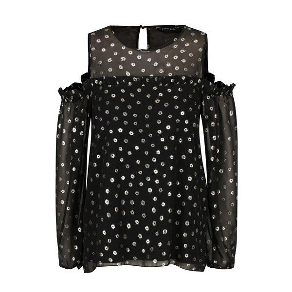 Bluza neagra cu print argintiu si decupaj pe umeri Dorothy Perkins