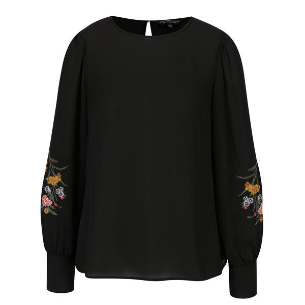 Bluza neagra cu broderie florala pe maneci Dorothy Perkins
