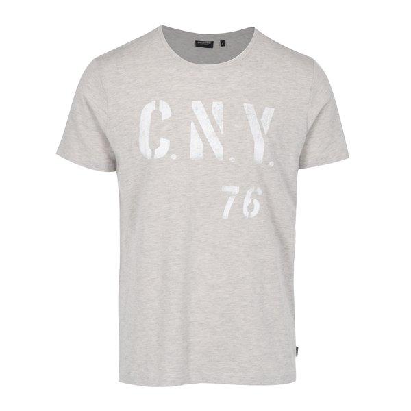 Tricou gri melanj cu print pentru barbati - Broadway Bennie