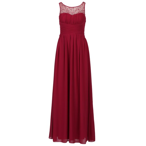 Rochie maxi rosu bordo cu top plisat si aplicatii decorative – Little Mistress