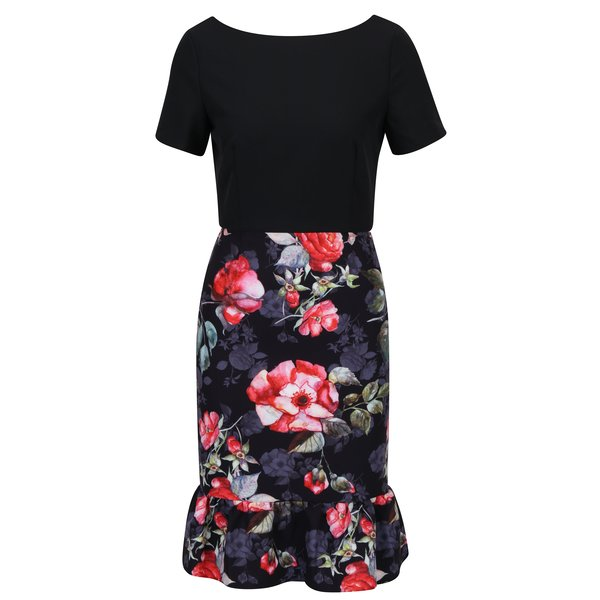 Rochie neagra cu print floral si volan Paper Dolls