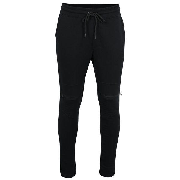 Pantaloni sport negri cu fermoare pe genunchi - Jack & Jones Core Bone