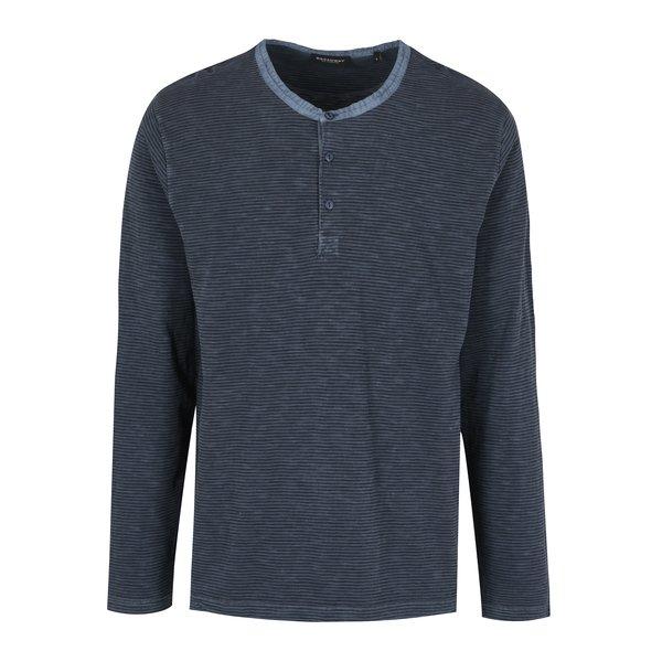 Bluza bleumarin cu print in dungi si slituri pentru barbati – Broadway Panur
