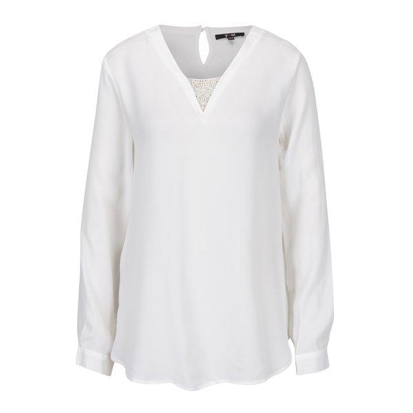 Bluza lejera crem cu aplicatii decorative in zona decolteului – Yest
