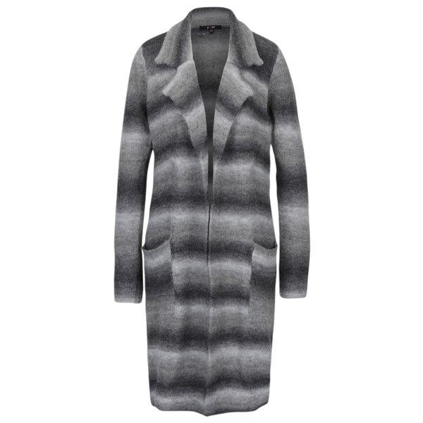 Cardigan lung gri cu revere si buzunare din amestec de lana - Yest