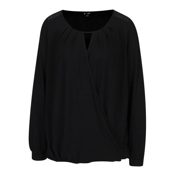 Bluza neagra suprapusa cu umeri translucizi – Yest