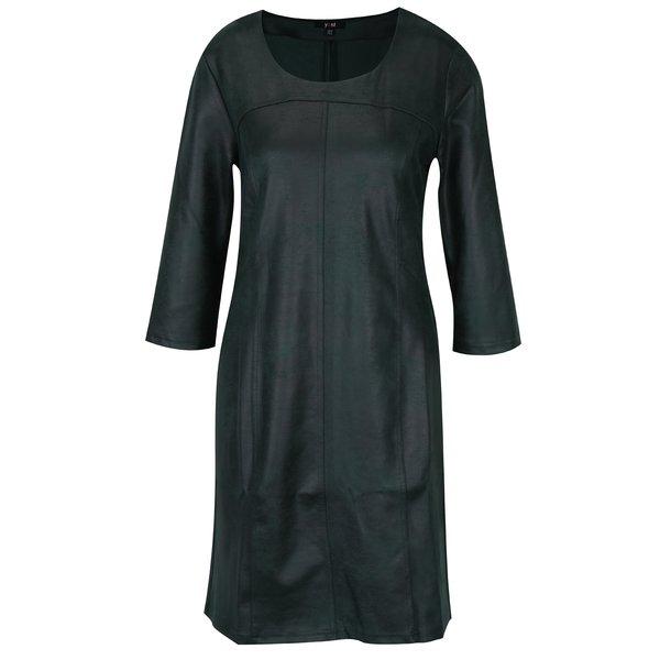 Rochie verde inchis cu maneci 3/4 si aspect de piele – Yest