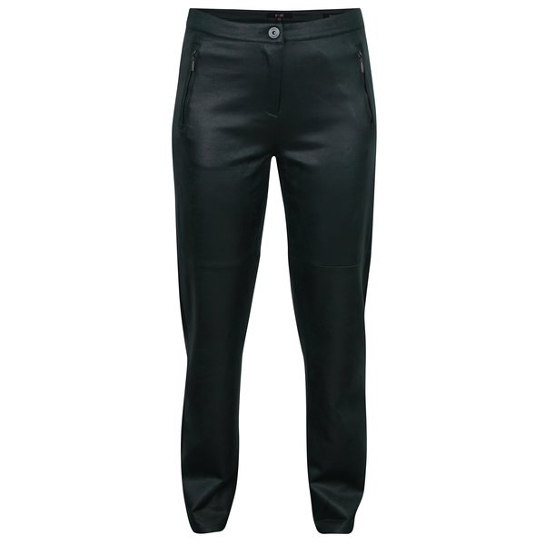 Pantaloni drepti verde inchis cu aspect de piele - Yest