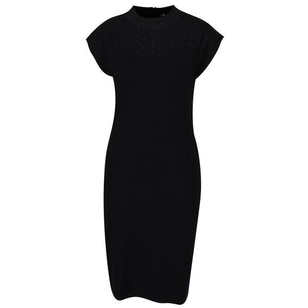 Rochie neagra tricotata fin cu aplicatii discrete – Yest