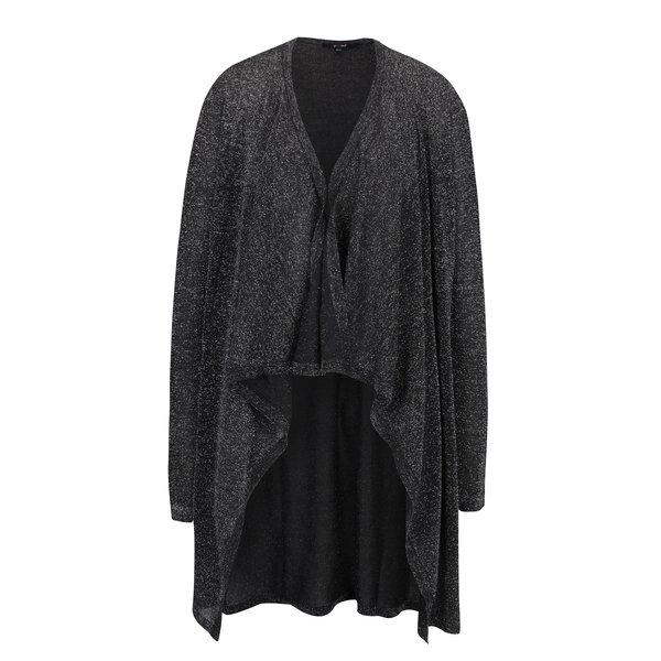 Cardigan negru cu aspect stralucitor - Yest