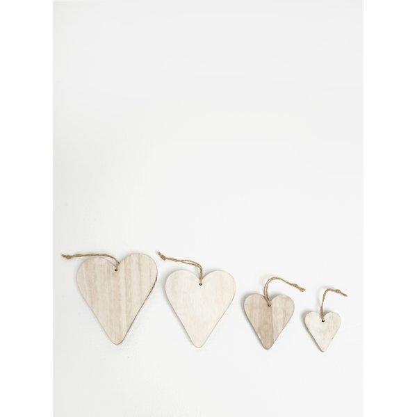 Set de 4 inimi decorative din lemn - Dakls