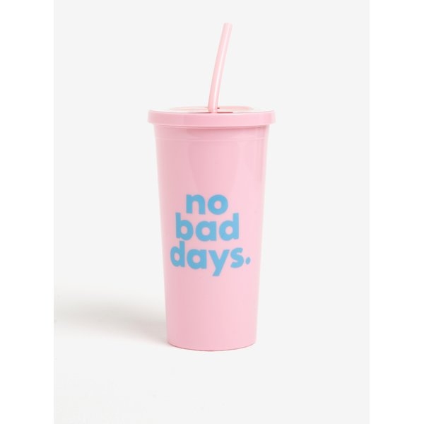Pahar cu pai roz si mesaj- ban.dō No bad days 590 ml