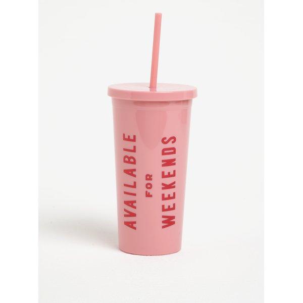 Pahar cu pai roz si mesaj amuzant - ban.do Available for weekends