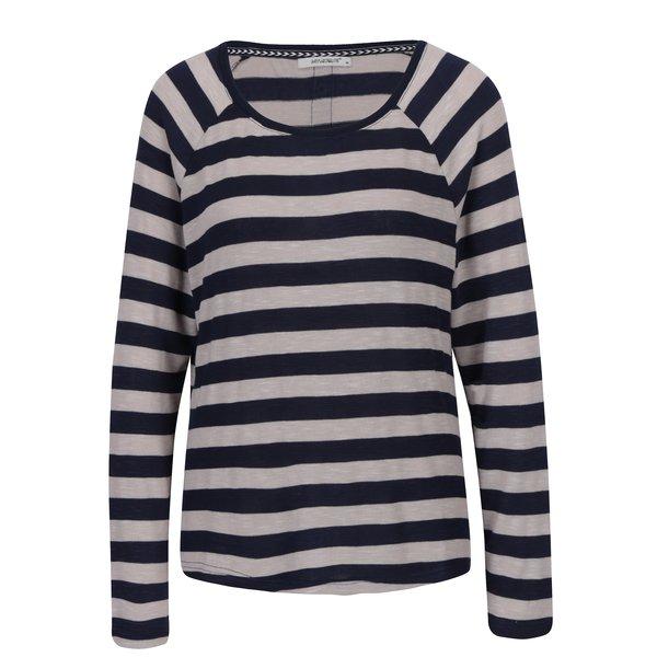 Bluza cu dungi crem & bleumarin si nasturi pe spate - Hailys Tamara