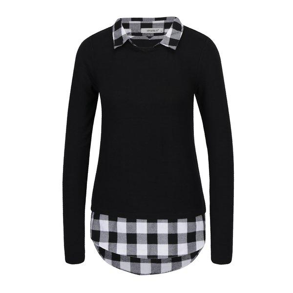 Bluza neagra cu aspect de camasa si croi asimetric - Hailys Linda