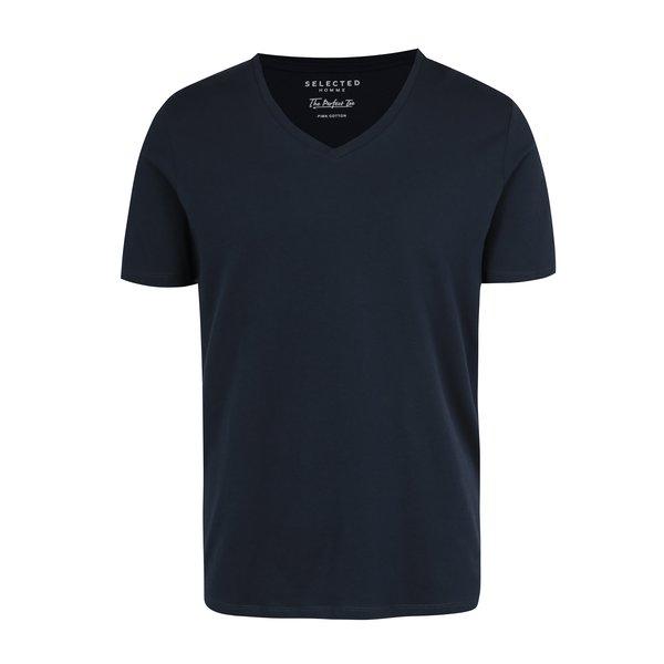 Tricou basic bleumarin din bumbac pima Selected Homme
