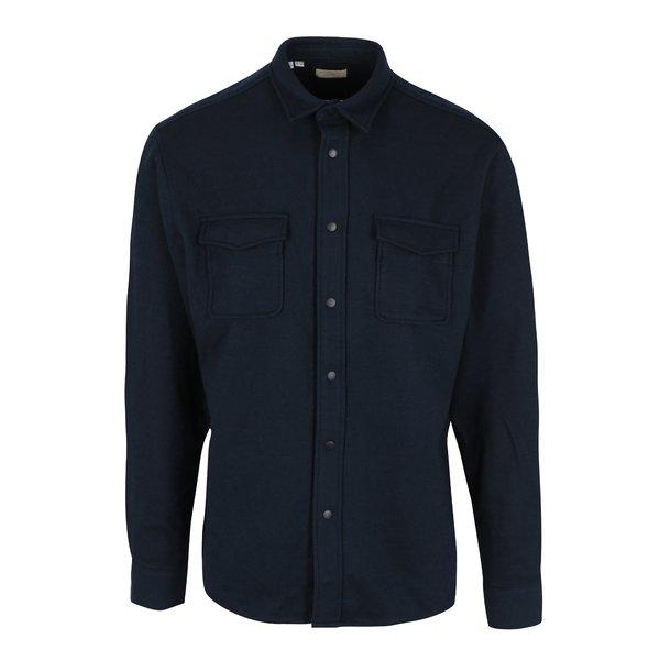 Camasa regular fit bleumarin cu buzunare din amestec de lana Selected Homme Three Pontus